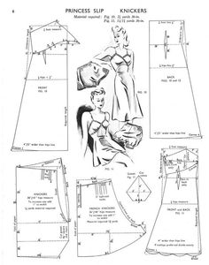 Princess Slip and Knickers Pattern Drafting. Lingerie Patterns, Sewing Lingerie, Dress Sewing Patterns, Free Sewing, Vintage Sewing Patterns, Clothing Patterns, Underwear Pattern, Skirt Patterns, Pattern Sewing