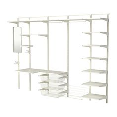 ALGOT Wall upright, shelf and triple hook, white