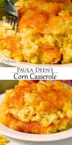 Paula Deen's Corn Casserole This easy corn casserole recipe from Paula Deen requires a box of Jiffy mix and 5 other simple ingredients! Make it up to two days ahead of time before baking in the oven or Crock Pot! Baked Creamed Corn Casserole, Creamy Corn Casserole, Vegetable Casserole, Easy Casserole Recipes, Crockpot Recipes, Cooking Recipes, Paula Deen Squash Casserole, Corn Casserole Jiffy, Cornbread Casserole