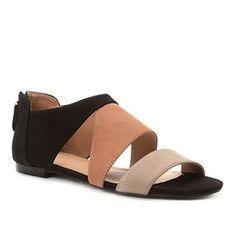 14c36f6563 Rasteira Couro Shoestock Nobuck Recortes - Preto e Nude