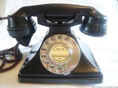 VINTAGE BAKELITE TELEPHONE ART DECO GPO PYRAMID 162 + bell RETRO DIAL PHONE