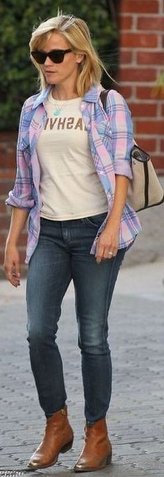 Reese Witherspoon wearing Golden Goose Young Western Ankle Boot, Rails Kendra Shirt in Pink Pastel and Goldsign Glam Skinny Jeans in Petal.