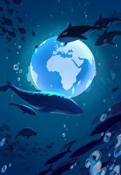 Anime Scenery Wallpaper, Cartoon Wallpaper, Wallpaper Backgrounds, Pretty Art, Cute Art, Aesthetic Art, Aesthetic Anime, Handy Wallpaper, Whale Art