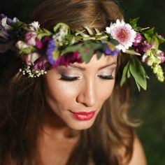 Beautiful #Hair and #Makeup by Olga Bustos #MakeupArtist in #Cabo #crownofflowers #Wedding