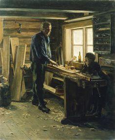 """I """"snekkerverkstedet"""", måleri av Jacob Gløersen foto©: O. Woodworking Images, Woodworking Bench Plans, Learn Woodworking, Easy Woodworking Projects, Different Types Of Wood, Antique Tools, Vintage Wood, Old Pictures, Carpentry"""