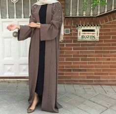Fabric - Premium Nidha polyester, light weight and soft) Pop up buttons from neck to the knee Pearl detailing on the upper portion of the abaya and cuff of the sleeve NB: Hijab is not included Arab Fashion, Islamic Fashion, Muslim Fashion, Muslim Dress, Hijab Dress, Hijab Outfit, Hijab Chic, Hijab Mode Inspiration, Abaya Style