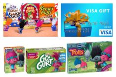 Prize: $25 Visa gift card, General Mills cereal with Trolls bopper, fruit snacks, and two free product coupons.
