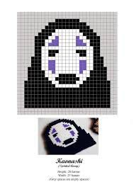 Kaonashi - No Face - Chihiro - Spirited Away - hama beads - pattern. Figure out cross-stitch pattern. Perler Bead Templates, Diy Perler Beads, Perler Bead Art, Hama Beads Design, Hama Beads Patterns, Beading Patterns, Totoro, Cross Stitching, Cross Stitch Embroidery