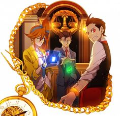 Ace Attorney - Athena Cykes, Phoenix Wright, and Apollo Justice. One of my pocket watches looks almost identical to that one.
