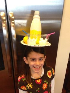 Crazy Hat Day at school...paper plate hot glued to an old headband, coffee creamer container painted with a yellow Sharpie, ice made from styrofoam...it's lemonade for two!