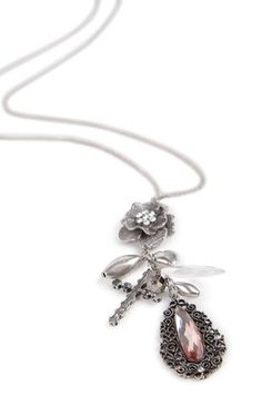 Deb Shops Long Necklace with Mixed Flower Charms $5.00