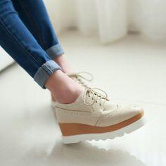 Women Wedges Lace Up Oxfords Platform Shoes