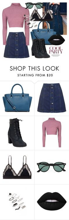 """""""Untitled #79"""" by hedvigaarts on Polyvore featuring MICHAEL Michael Kors, Topshop, Timberland, Glamorous, LoveStories, Ray-Ban and Lime Crime"""