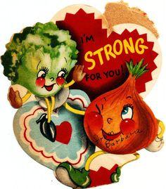 Vintage Valentine Card Lettuce Onion Lovers Vegetables