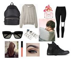 """V"" by dounia-bts-swag ❤ liked on Polyvore featuring La Garçonne Moderne, Converse, Yves Saint Laurent, Butter London, Forever 21 and Marc Jacobs"
