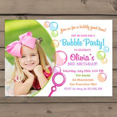 Bubble party birthday invitation free thank you card included via bubble birthday party invitation bubble party by anietillustration filmwisefo