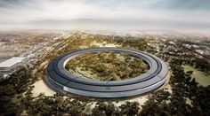 Drone footage shows latest progress of exterior build of Apple Campus 2 project designed by Norman Foster. Industrial Office Design, Modern Office Design, Norman Foster, Architecture Awards, Gothic Architecture, Building Architecture, Apple Campus 2, Apple Headquarters, Caracas