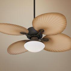 "52"" Casa Vieja Aerostat Wide Palm Blades Outdoor Ceiling Fan -"