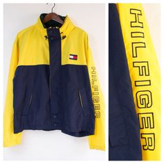Vtg Tommy Hilfiger Yellow/Navy Blue/Forest Green Colorblock Sailing Jacket w/ Tuck Away Hoodie - (XLarge)