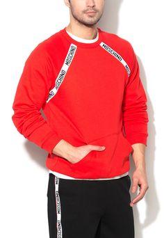 Moschino Men Sweater Red Logo Sweatshirt Pullover Jumper #Moschino #Sweater