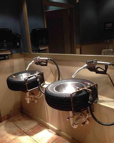 So I went to wash my hands at a car themed restaurant... These were the sinks