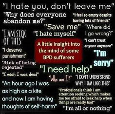 Breaking the cycles of apathy, abuse, addiction and mental illness in favor of self awareness and personal responsibility. Bpd Disorder, Mental Disorders, Anxiety Disorder, Mental Health Quotes, Mental Health Issues, Borderline Personality Disorder Quotes, My Emotions, Feelings, Adhd Help