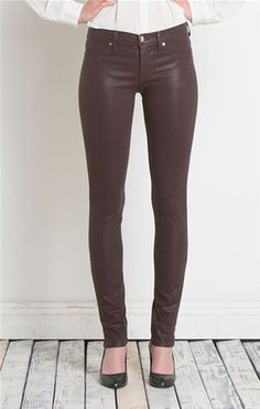 Coated Super Skinny Jeans with Zipper | Cordovan (plum)