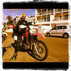 """""""It's a merman on a bike! Bushy and the Out on a Limb Charity Expedition team about to dive with seals in False Bay! At Pisces Divers"""" - My June 2012 Merman, Seals, Pisces, Diving, Charity, June, Instagram Posts, Scuba Diving, Aquarius"""