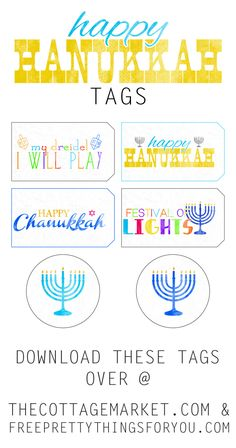 Free Printable Happy Hanukkah Gift Tags - The Cottage Market