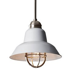 brushed steel glass pendant // barn light electric
