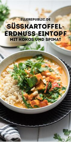 Süßkartoffel-Erdnuss-Eintopf mit Kokosnuss und Spinat Sweet potato peanut stew with coconut and spinach Spinach Recipes, Veggie Recipes, Indian Food Recipes, Dinner Recipes, Ethnic Recipes, Vegetarian Stew, Vegetarian Recipes, Healthy Recipes, Clean Eating