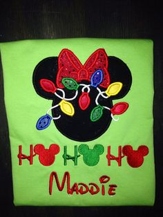 Christmas Mickey Ears appliqued shirt. by BellaRagazzi on Etsy