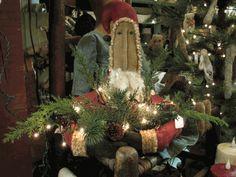 Prim Santa with greens...