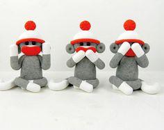 Three Wise Sock Monkeys See No Evil Speak No Evil Hear No Evil Polymer Clay