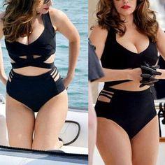 Women Plus Size High Waist Bandage Swimsuit Push-up Padded Bikini Set Swimwear K Kelly Brook Bikini, Kelly Brook Beach, Kelly Brook Lingerie, Kelly Brook Style, Kelly Brook Hot, Bikini For Curves, Curvy Bikini, Black Bikini, Bikini Swimsuit