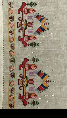 Maquillada Tutorial and Ideas Ribbon Embroidery, Cross Stitch Embroidery, Embroidery Designs, Palestinian Embroidery, Cross Stitch Borders, Bargello, Needlework, Bohemian Rug, Traditional