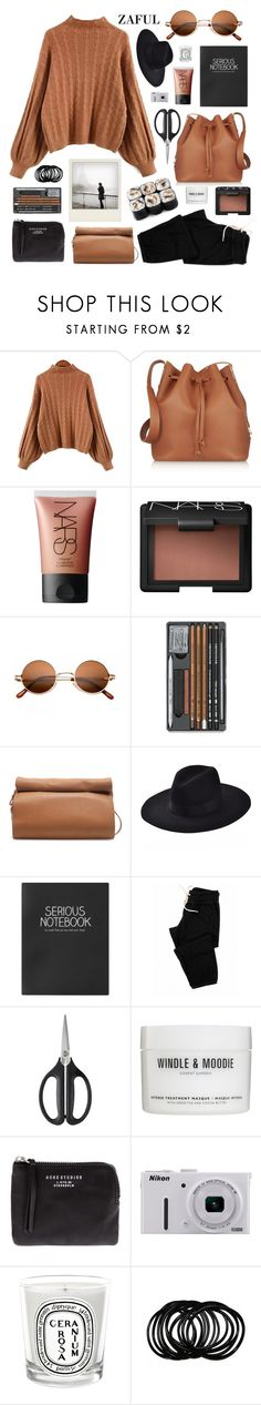 """""""chestnuts"""" by jesicacecillia ❤ liked on Polyvore featuring Sophie Hulme, NARS Cosmetics, Zara, Topshop, Monrow, OXO, Polaroid, Acne Studios, Nikon and Diptyque"""
