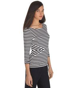 3/4 Sleeve Black and White Stripe Top - White House | Black Market