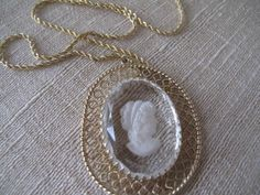 Intaglio Glass Cameo Pendant with Danecraft Gold over Sterling Chain