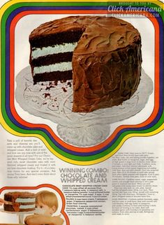 chocolate-mint-whipped-cream-cake-oct-1968 Whipped Cream Cakes, Flavored Whipped Cream, Chocolate Frosting, Mint Chocolate, Chocolate Cakes, Great Desserts, Delicious Desserts, Retro Recipes, Vintage Recipes