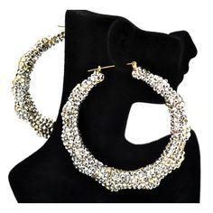 Silver Iced Out Lady Gaga Pincatch Hoop Earring: Jewelry