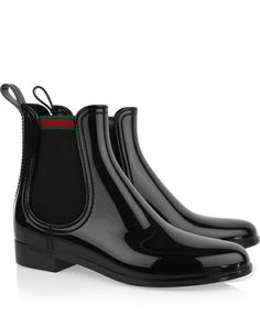 Gucci Chelsea boots: black patent-rubber, heel measures approximately 1 inch, elasticated sides with signature red and green stripe, back tab, almond toe. Shiny Boots, Cool Boots, Leather Chelsea Boots, Leather Boots, Patent Leather, Burberry Brit Jacket, Sneakers Fashion, Fashion Shoes, Women's Fashion
