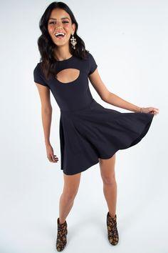 Matte Peephole Skater Dress ($89AUD) by BlackMilk Clothing