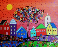 Whimsical Town Painting  - Whimsical Town Fine Art Print
