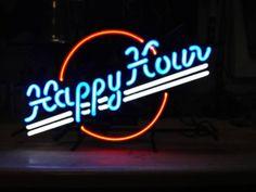 "17/""x14/""HAPPY HOUR Neon Sign Light Bistro Pub Wall Decor Handmade Visual Artwork"