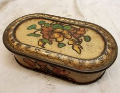 Antique Huntley & Palmers Tin Biscuit Box Reading London Vtg Floral Oval Flower #HuntleyPalmers