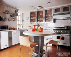 <p>In this Manhattan kitchen, a round, counter-height table doubles as a food-prep station and a dining table; its stainless-steel base and Carrara-marble top match the accents in the rest of the room, from the stainless-steel-trimmed cabinets and metal pot rack to the white appliances. The floor is covered in cork tiles. </p>