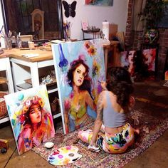 Charmaine Olivia in Art Studio Home Art Studios, Art Studio At Home, Artist Studios, Artist Painting, Painting & Drawing, Artist Workspace, Artist Aesthetic, Artist At Work, Painting Inspiration