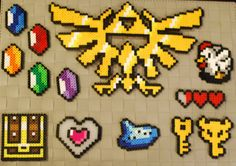 Zelda Sprites Perler Magnets! Hylian Crest - Boss Key - Heart Container - Rupees - Treasure Chest - Ocarina - Cucco - Hearts