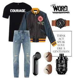 """Love a COURAGEOUS guy!"" by thewordchanges on Polyvore featuring Gucci, Levi's, Viktor & Rolf, Clinique, Ray-Ban, men's fashion and menswear"